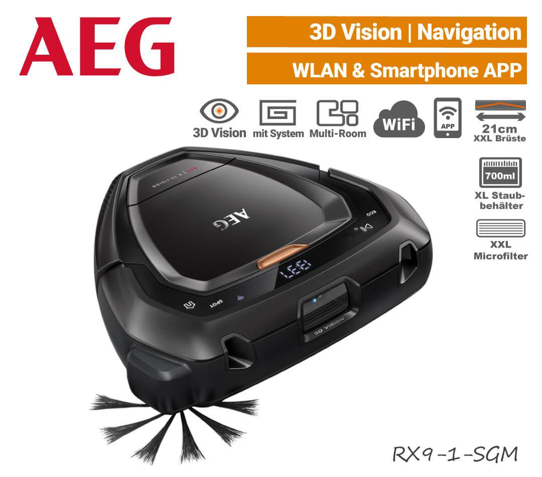 AEG RX9-1-SGM Saugroboter 3D-Kamera Laser Navigation Wifi WLAN EU9