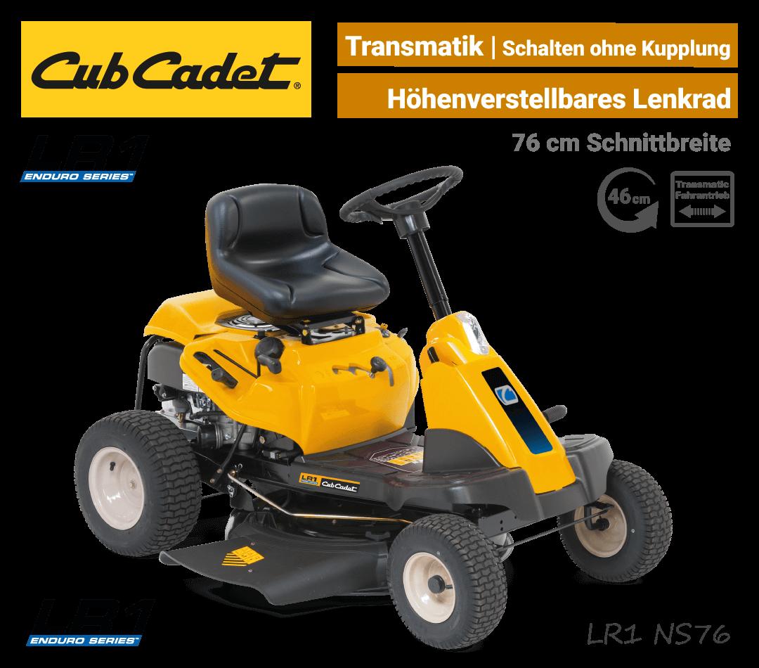 Cub Cadet LR1 NS76 Transmatic Seitenauswurf-Mulch Aufsitzmäher Mini-Rider EU9