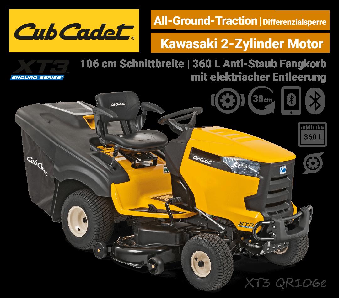 Cub Cadet XT3 QR106 e Diffrenzialsperre elektrische Korb-Entleerung Bluetooth Rasentraktor EU9