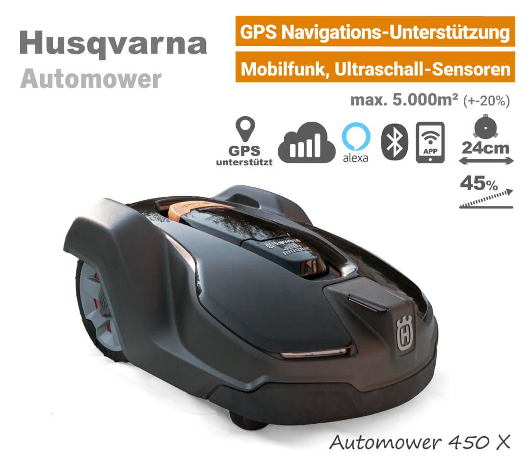Husqvarna Automower 450 X GPS Ultraschall Mähroboter-Rasenroboter EU9