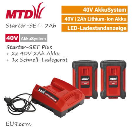 MTD 40V Starter-SET Plus - 2Ah Akku - Schnell-Ladegerät 40 Volt EU9