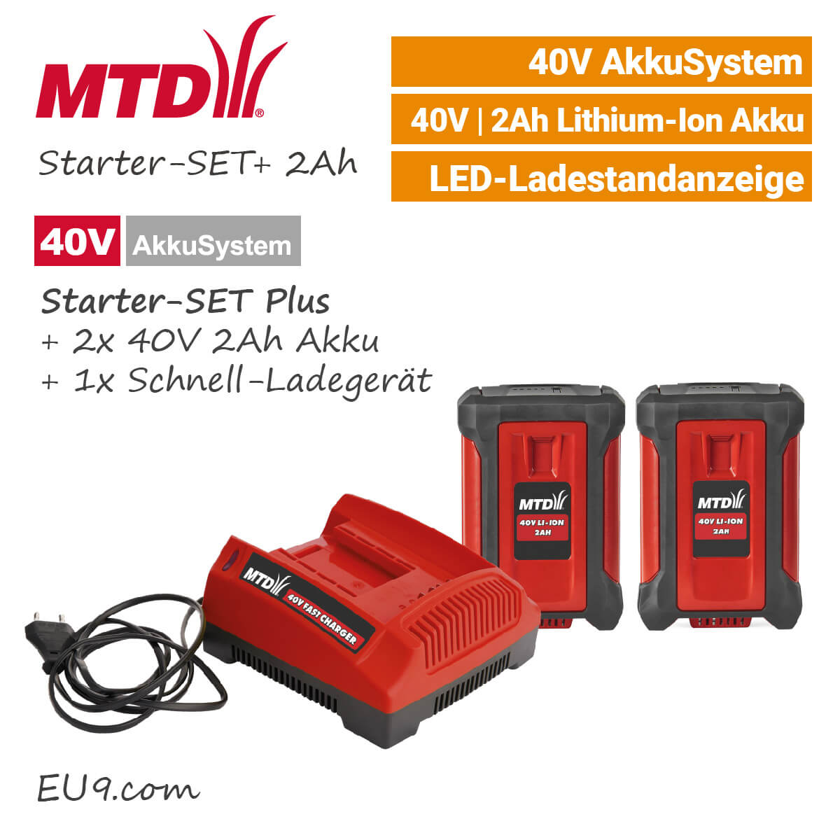 mtd 40v starter set plus 2ah 2xakku ladeger t g nstig kaufen. Black Bedroom Furniture Sets. Home Design Ideas