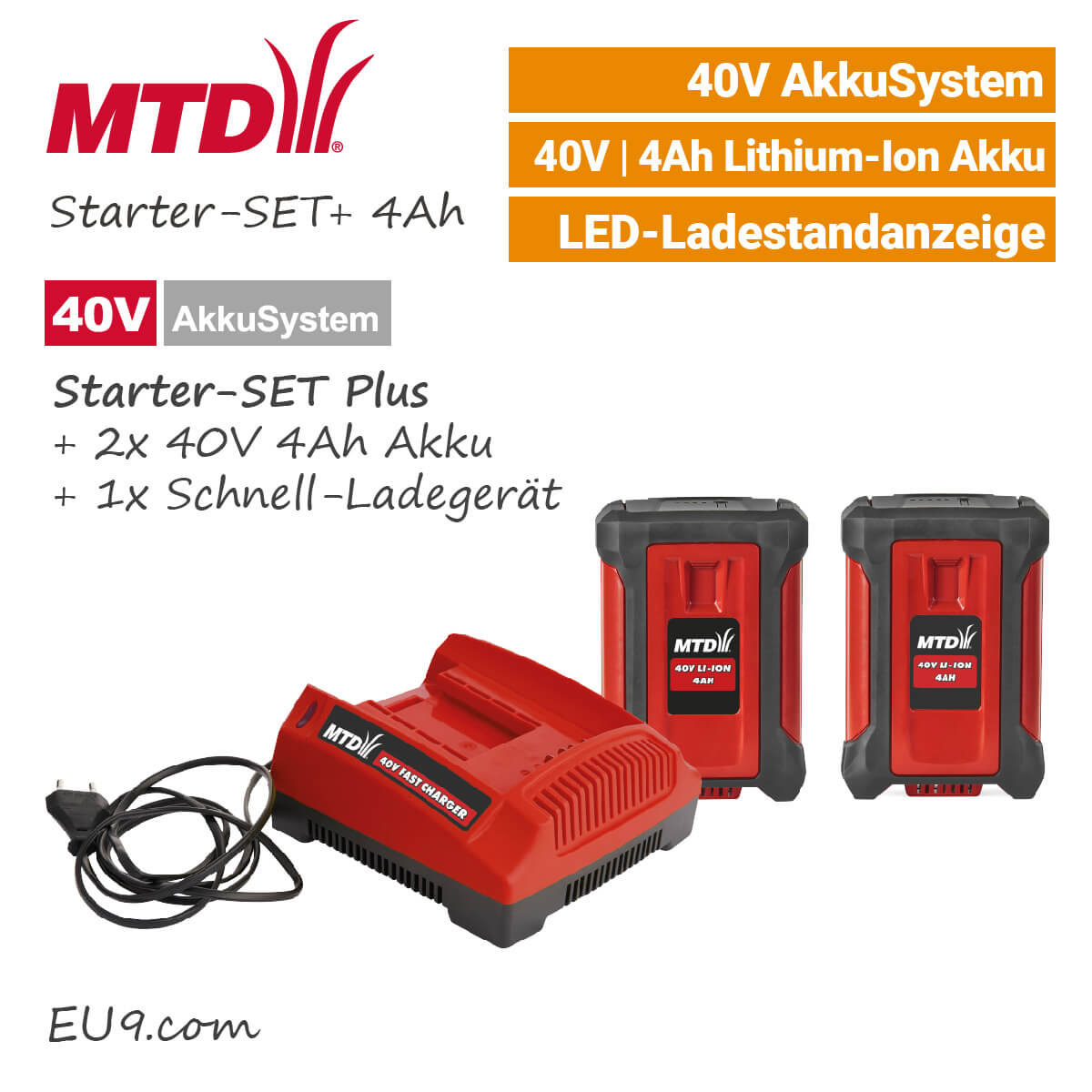 mtd 40v starter set plus 4ah 2x akku ladeger t g nstig kaufen. Black Bedroom Furniture Sets. Home Design Ideas