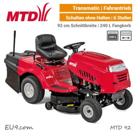 MTD 92 Transmatic Rasentraktor Aufsitzmäher mit Fangkorb EU9
