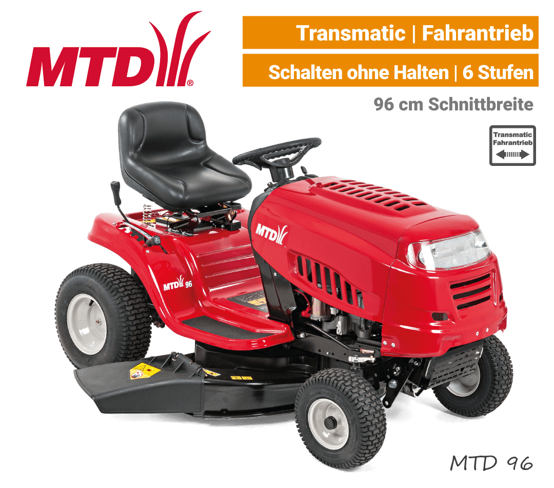 MTD 96 Transmatic Rasentraktor Aufsitzmäher mit Seitenauswurf EU9