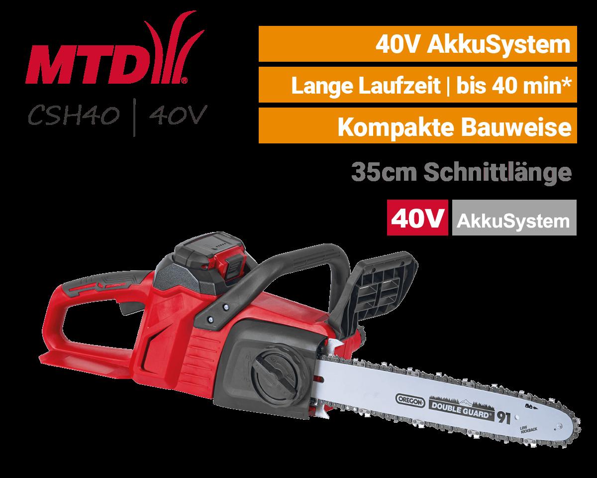 MTD CSH 40 - 40V Akku-Kettensäge Motorsäge 40 Volt EU9