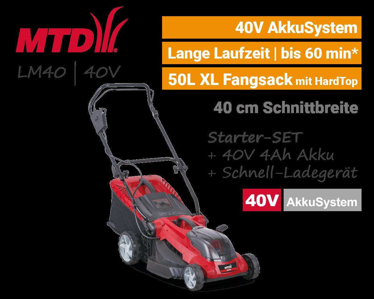 MTD LM 40 40 Volt Akku-Rasenmäher EU9
