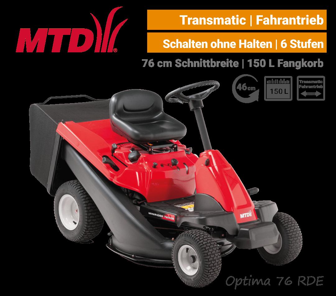 MTD Optima 76 RDE Transmatic Mini-Rider Aufsitzmäher mit Fangkorb EU9