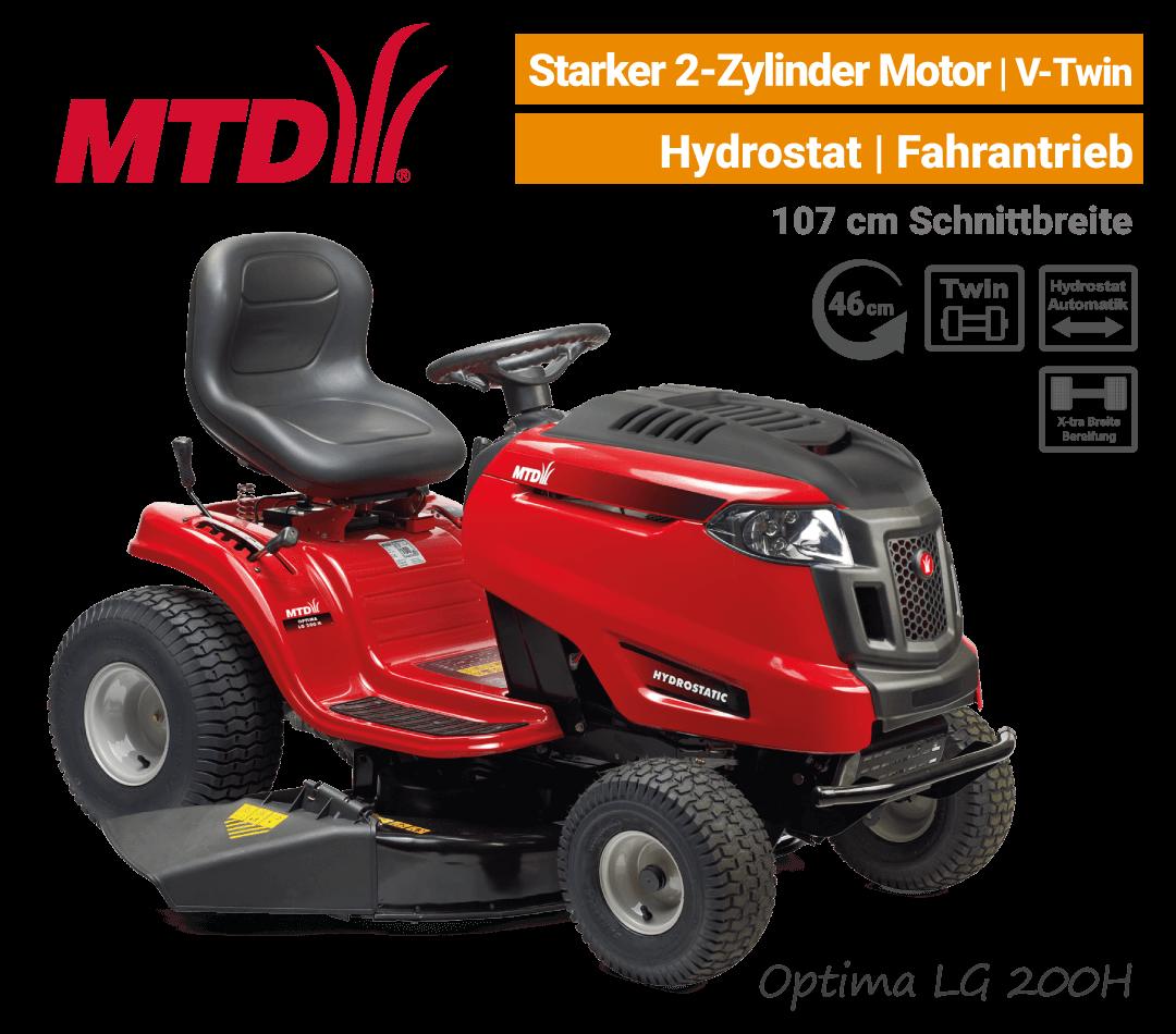 MTD Optima LG 200 H Hydrostat 2-Zylinder V-Twin Rasentraktor mit Seitenauswurf & Mulchen EU9