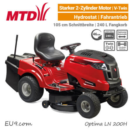 MTD Optima LN 200 H Hydrostat 2-Zylinder V-Twin Rasentraktor Aufsitzmäher mit Fangkorb EU9