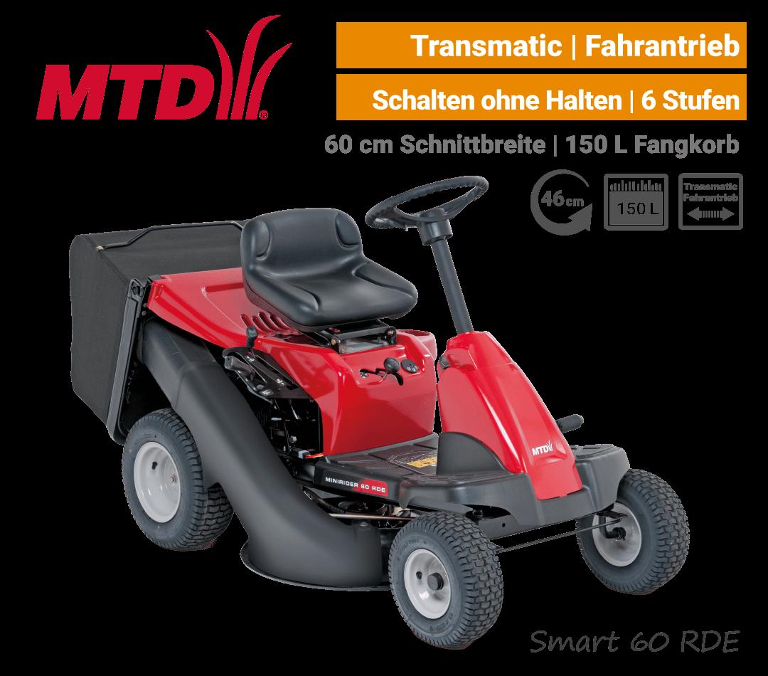 MTD Smart 60 RDE Transmatic Mini-Rider Aufsitzmäher mit Fangkorb EU9