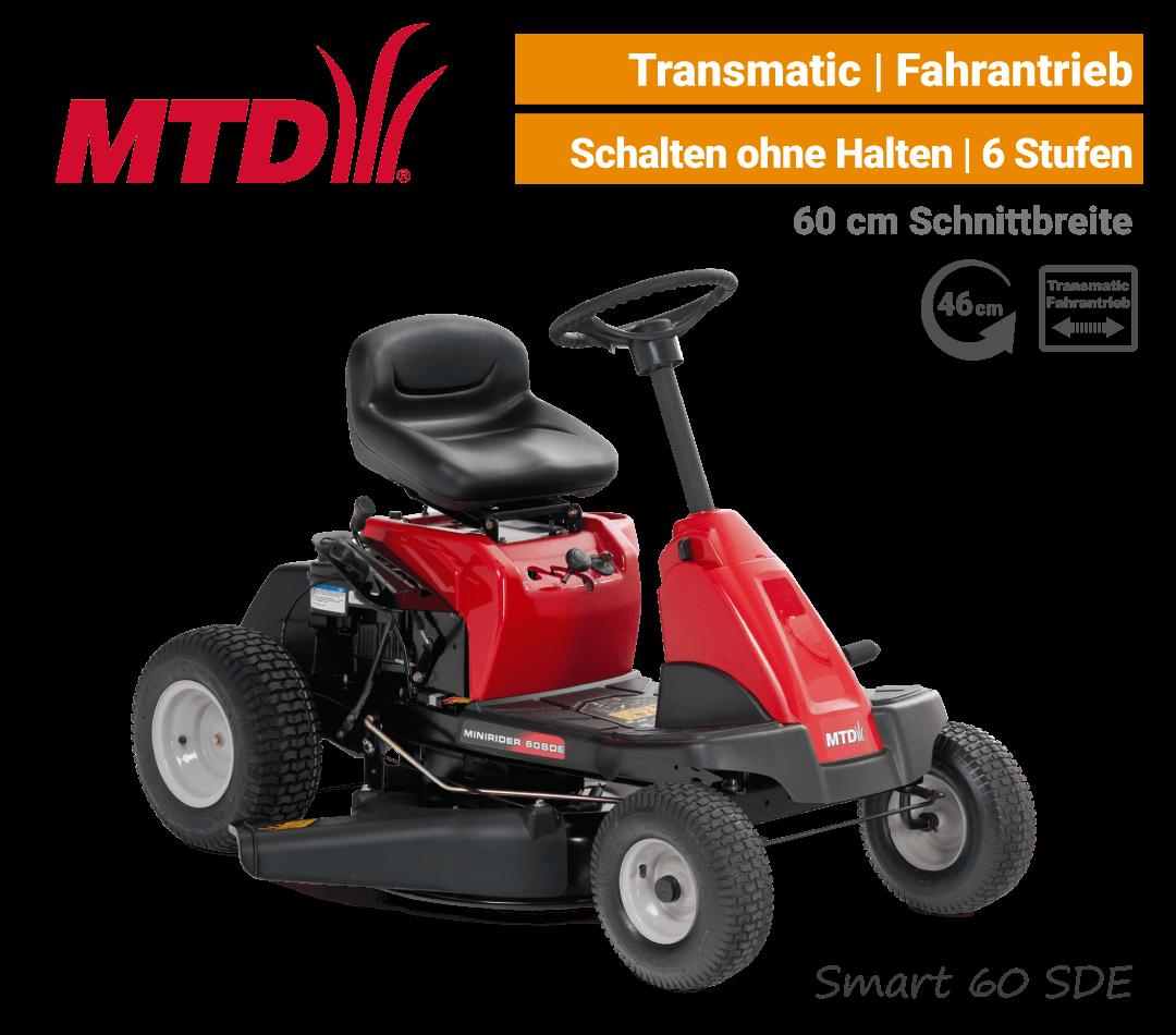 MTD Smart 60 SDE Transmatic Mini-Rider Aufsitzmäher mit Seitenauswurf EU9