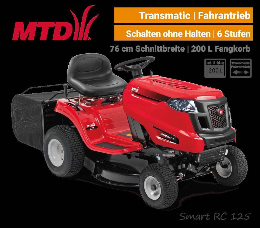 MTD Smart RC 125 Transmatic Rasentraktor Aufsitzmäher mit Fangkorb EU9
