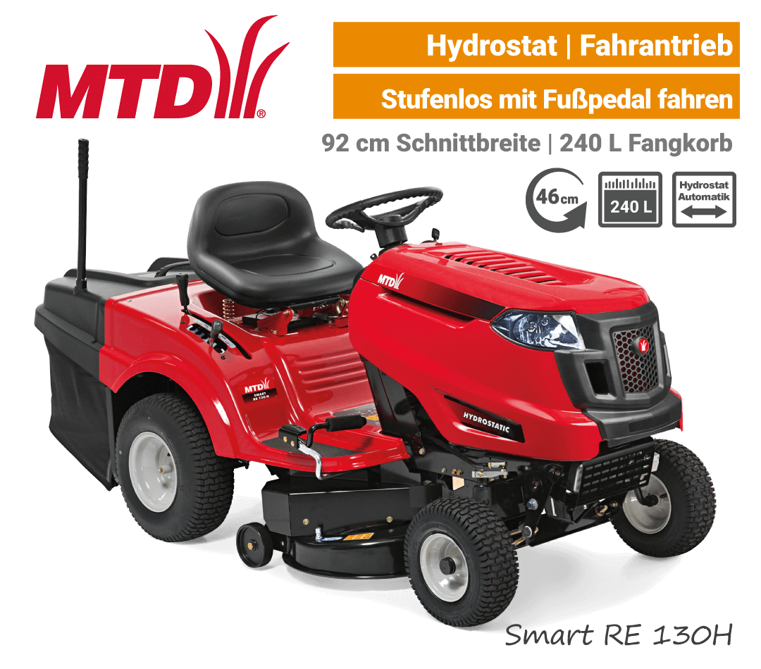 MTD Smart RE 130 H Hydrostat Rasentraktor Aufsitzmäher mit Fangkorb EU9