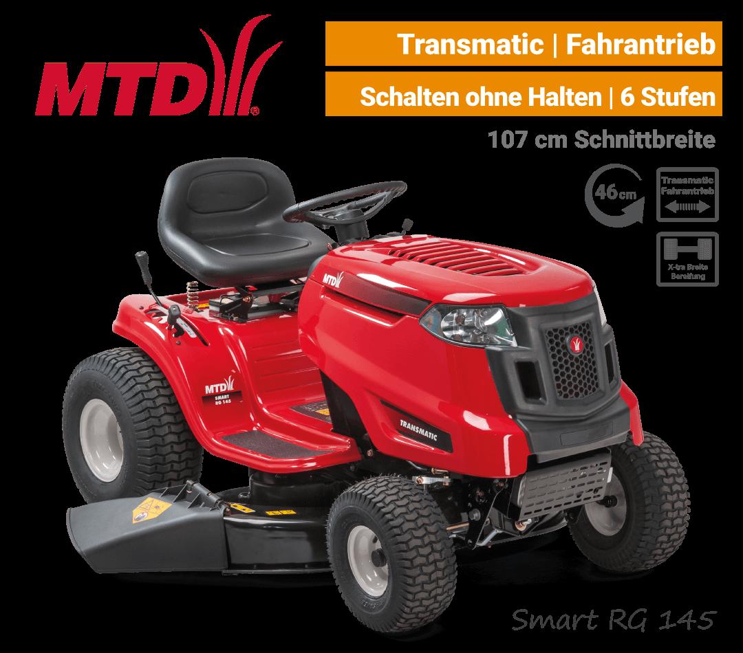MTD Smart RG 145 Transmatic Rasentraktor Aufsitzmäher mit Seitenauswurf EU9