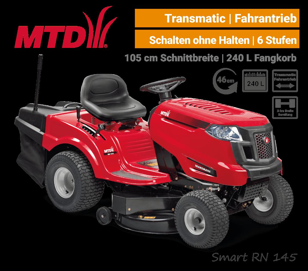 MTD Smart RN 145 Transmatic Rasentraktor Aufsitzmäher mit Fangkorb EU9
