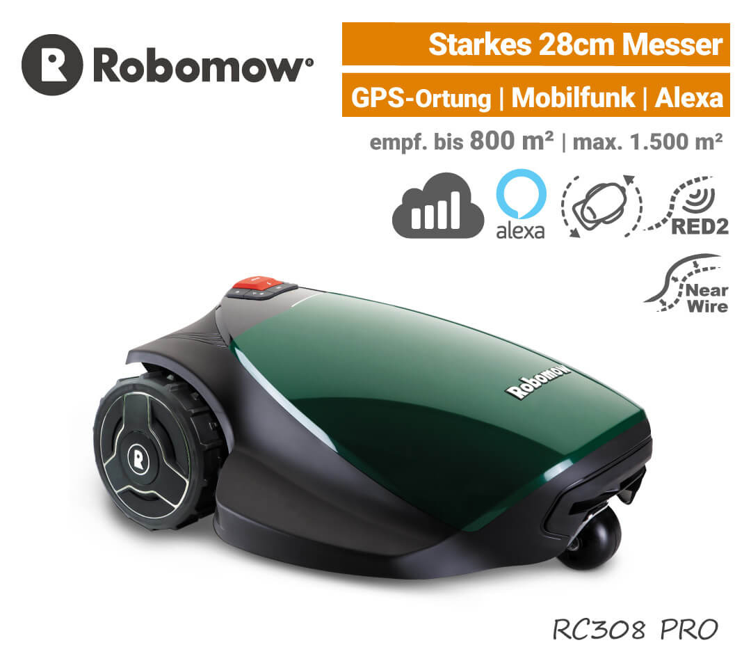 Robomow RC308 PRO Mähroboter-Rasenroboter Mobilfunk EU9