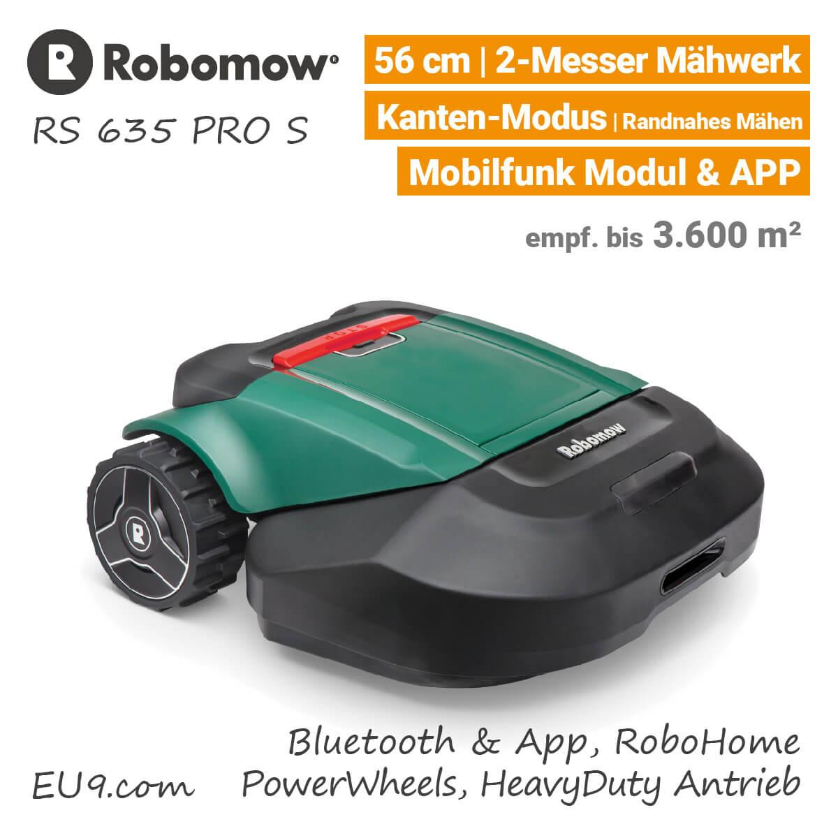 neu 2018 robomow rs 635 pro s m hroboter mit robohome tipp. Black Bedroom Furniture Sets. Home Design Ideas