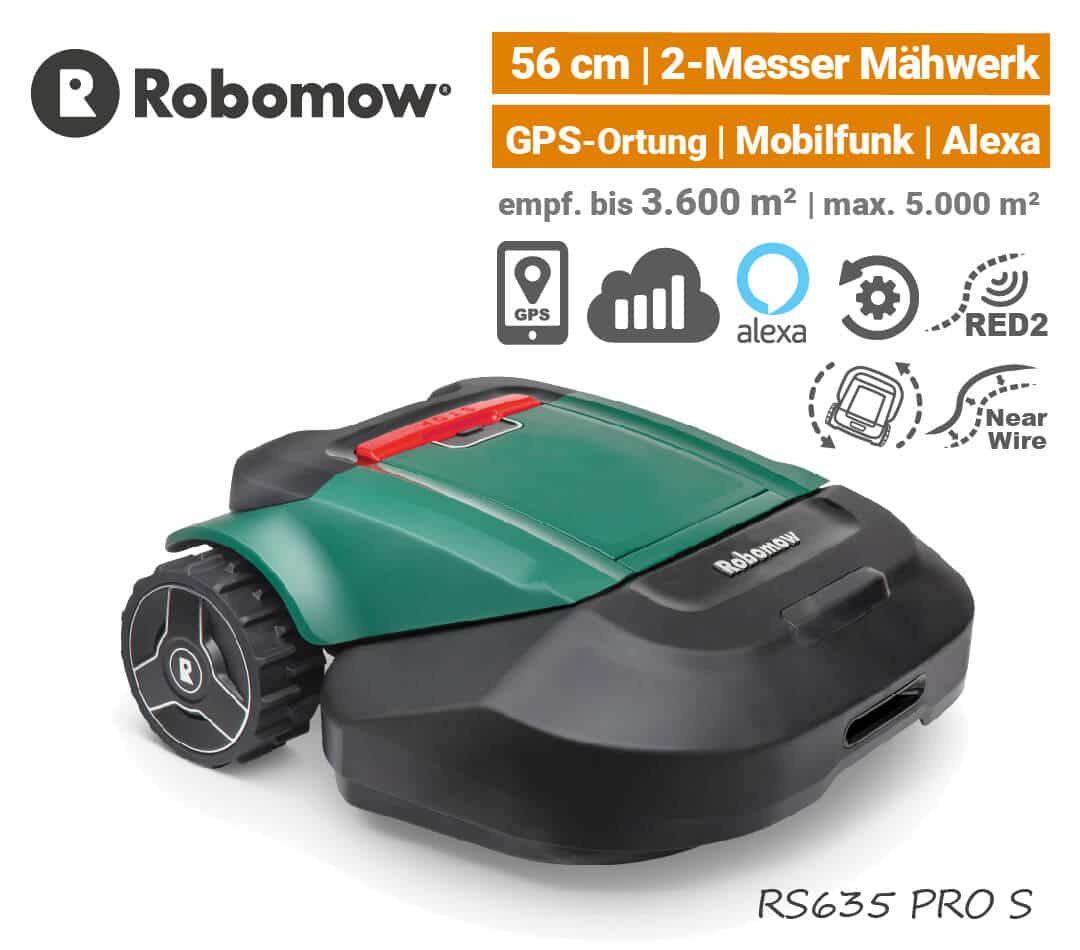 Robomow RS 635 PRO S Mähroboter-Rasenroboter GPS Mobilfunk EU9