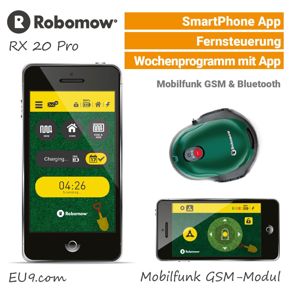 robomow rx 20 pro m hroboter mit mobilfunk g nstig bei eu9 kaufen. Black Bedroom Furniture Sets. Home Design Ideas