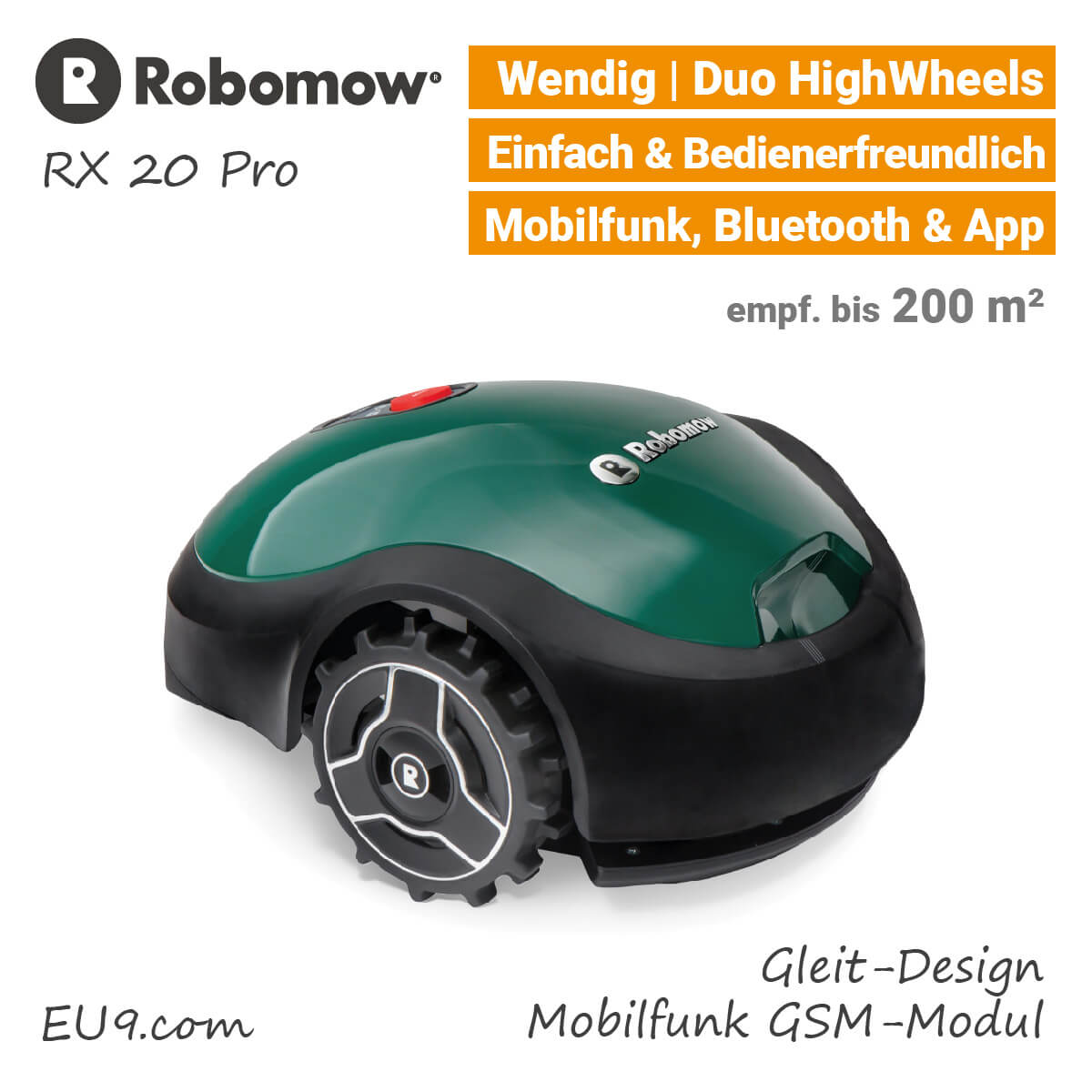 robomow rx 20 pro m hroboter mit mobilfunk g nstig bei eu9 kaufen. Black Bedroom Furniture Sets. Home Design Ideas