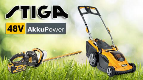 Stiga 48V Akku-Gartengeräte Akku-Rasenmäher 48 Volt 48V AkkuPower EU9
