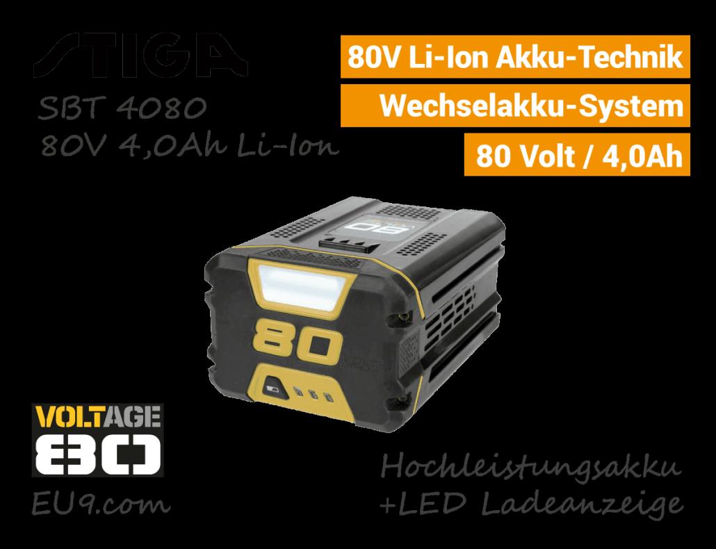 Stiga 80V 4,0Ah SBT-4080 Akku System
