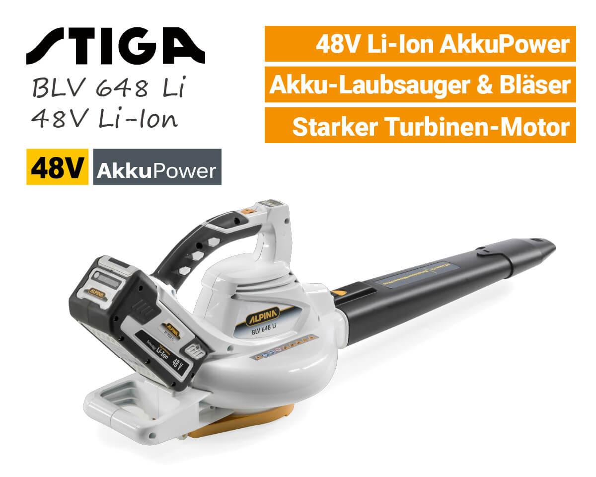 Stiga Alpina BLV 648 Li SBV 48 AE 48V Akku-Laubbläser-Laubsauger-48-Volt