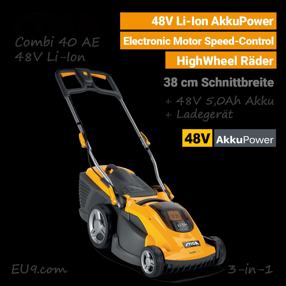Stiga Combi 40 AE 48V Akku-Rasenmäher 48 Volt EU9