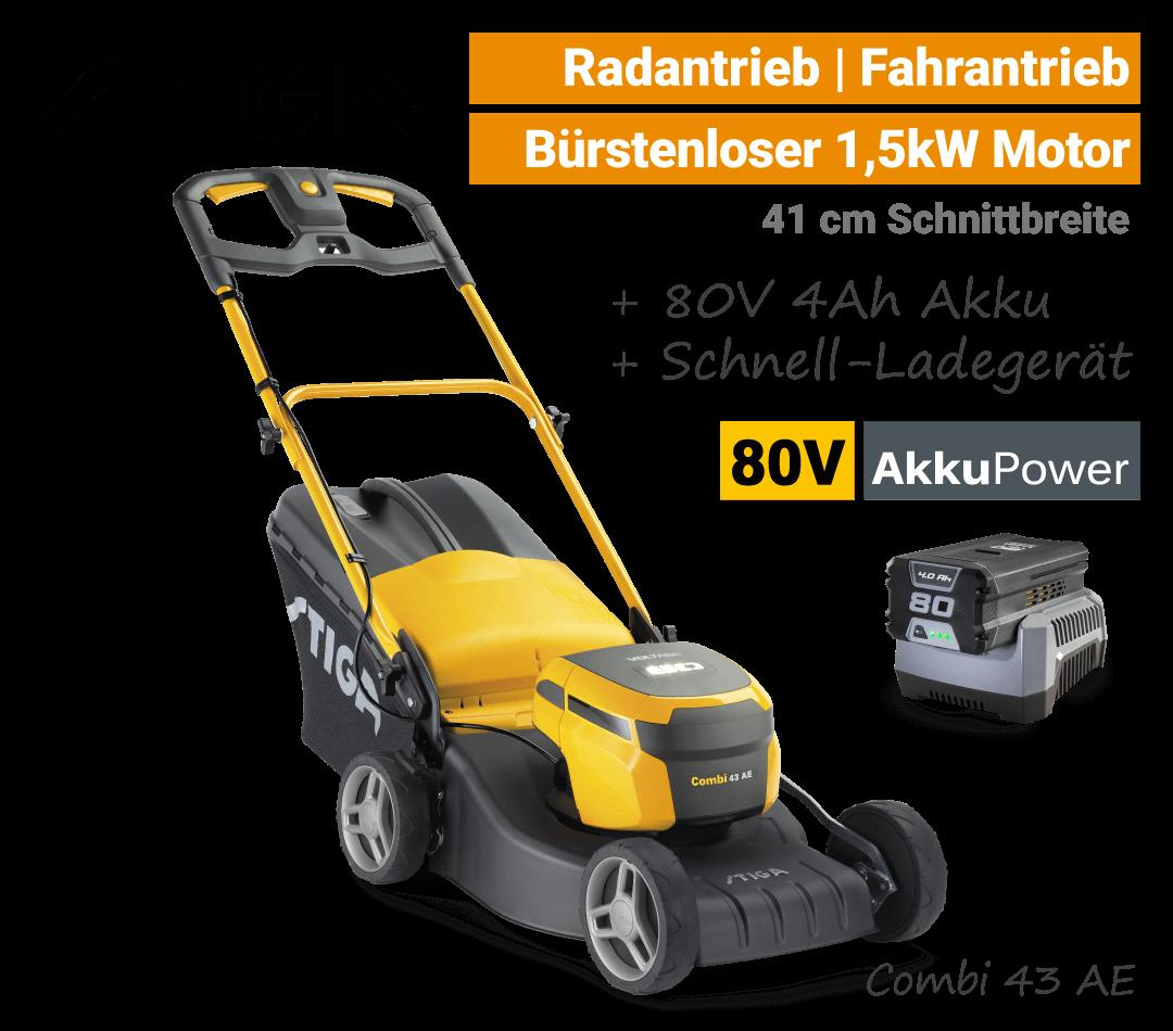 Stiga Combi 43 AE 80V Akku-Rasenmäher 80 Volt SET EU9