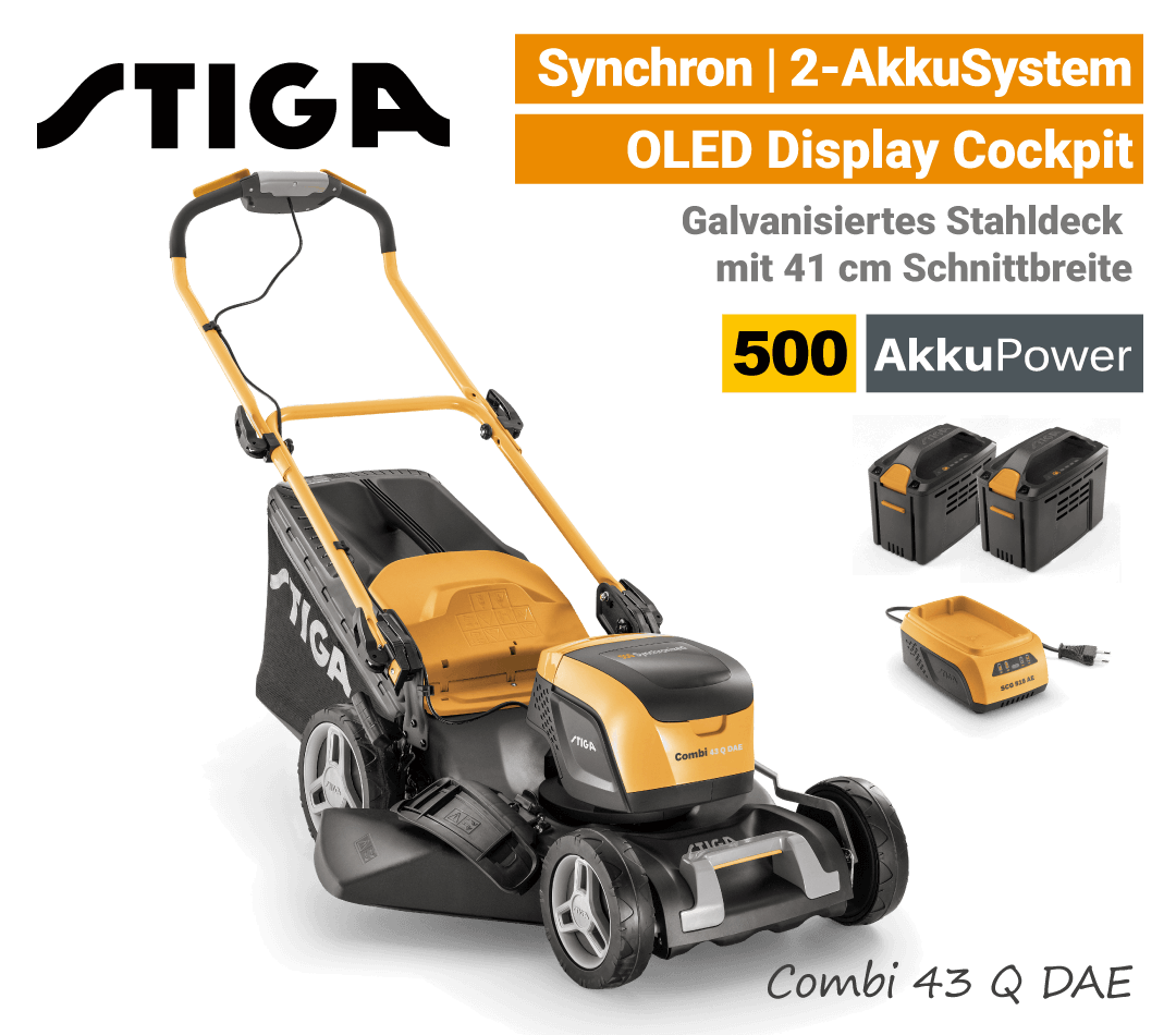 Stiga Combi 43 Q DAE Akku-Rasenmäher Synchron 500 EU9