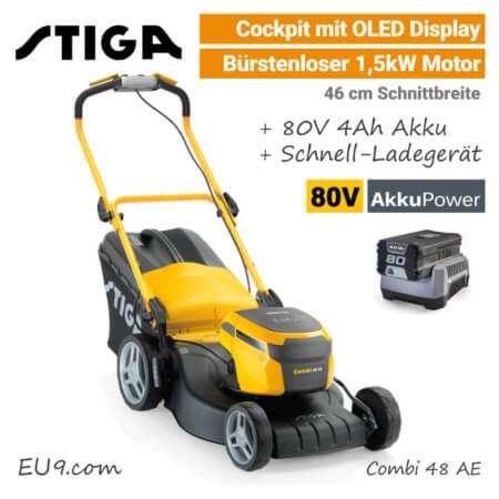 Stiga Combi 48 AE OLED Display 80V Akku-Rasenmäher 80 Volt EU9