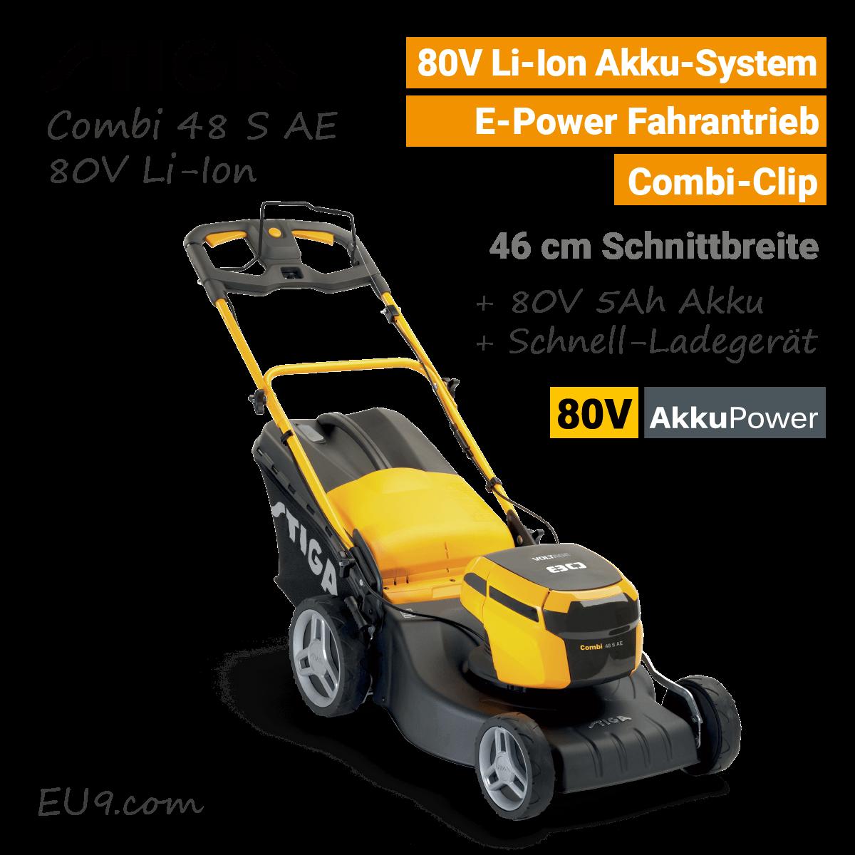 Stiga Combi 48 S AE 80V Akku Rasenmäher Rad Antrieb 80 Volt EU9