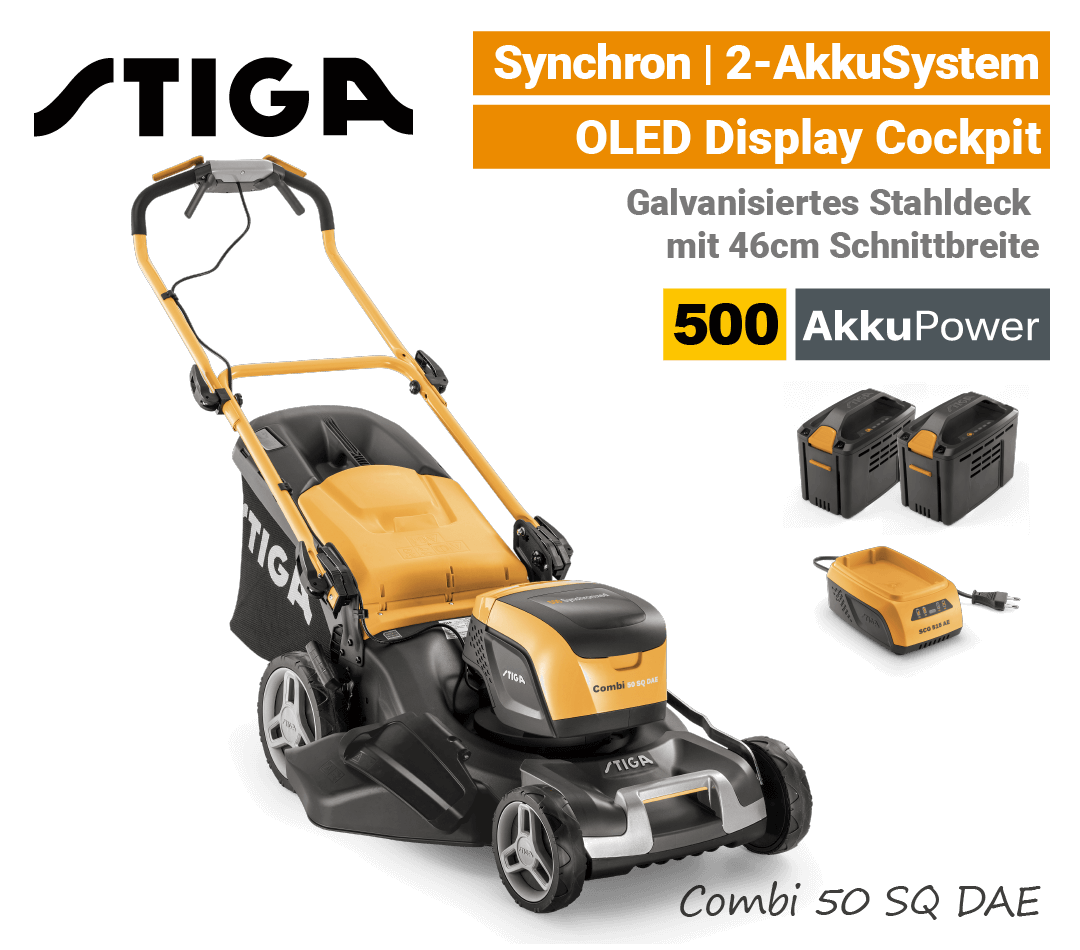 Stiga Combi 50 SQ DAE Akku-Rasenmäher Radantrieb Synchron 500 EU9