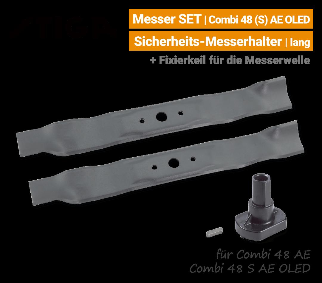 Stiga Messer Combi 48 S AE OLED Combi 48 AE mit Messerhalter lang Ersatzmesser 80V EU9