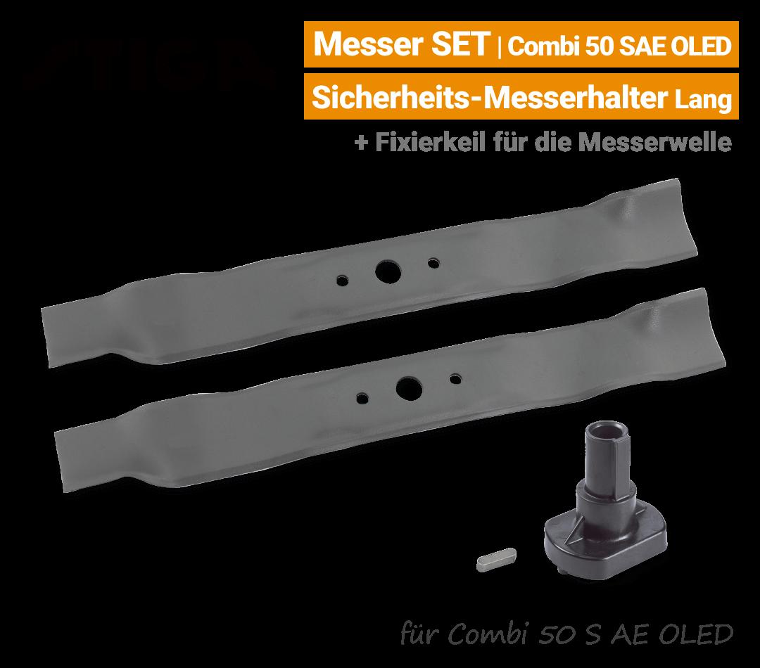 Stiga Messer Combi 50 S AE OLED mit Messerhalter lang Ersatzmesser 80V EU9