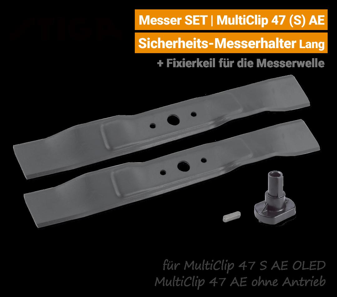 Stiga Messer MultiClip 47 S AE OLED mit Messerhalter Lang Ersatzmesser 80V EU9