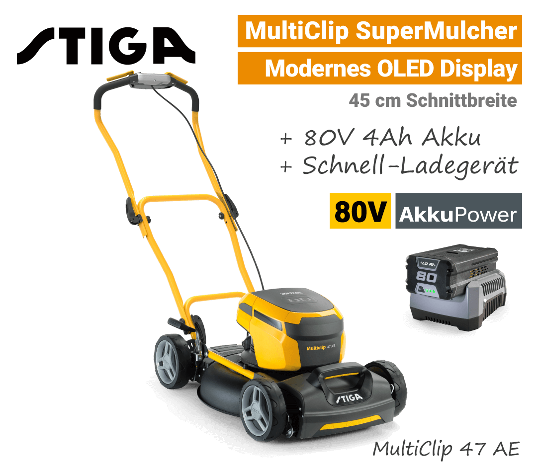 Stiga MultiClip 47 AE OLED-Display 80V Akku-Mulchmäher-Rasenmäher 80-Volt SET EU9