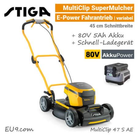 Stiga MultiClip 47 S AE OLED-Display 80V Akku-Mulchmäher-Rasenmäher Antrieb 80 Volt EU9