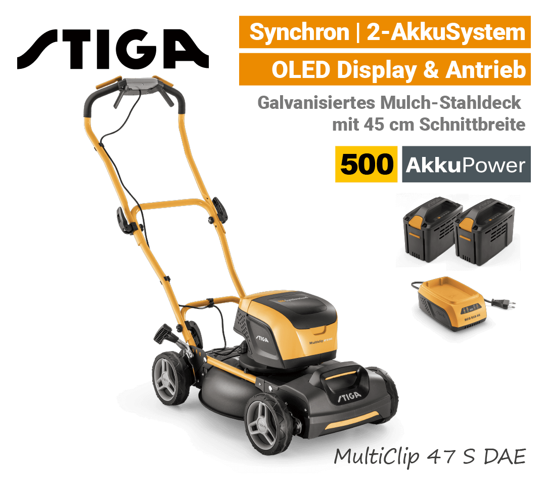 Stiga MultiClip 47 S DAE Akku-Rasenmäher-Mulchmäher Antrieb Synchron 500 EU9