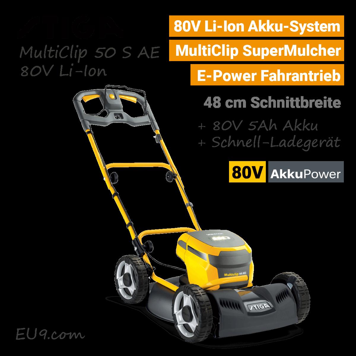 Stiga MultiClip 50 S AE 80V Akku Mulchmäher Rasenmäher Rad Antrieb 80 Volt EU9