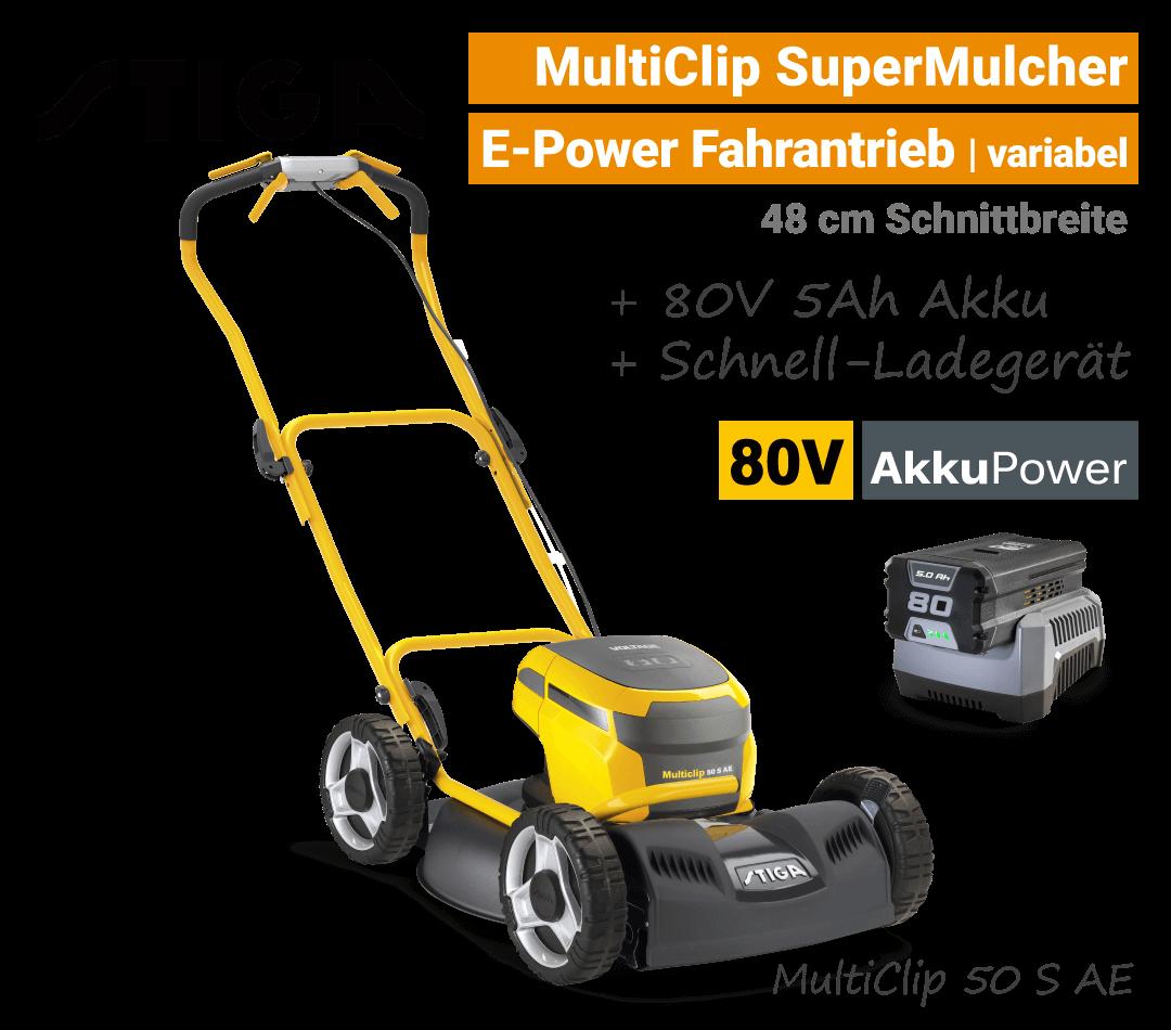 Stiga MultiClip 50 S AE OLED-Display 80V Akku-Mulchmäher-Rasenmäher Antrieb 80-Volt SET EU9