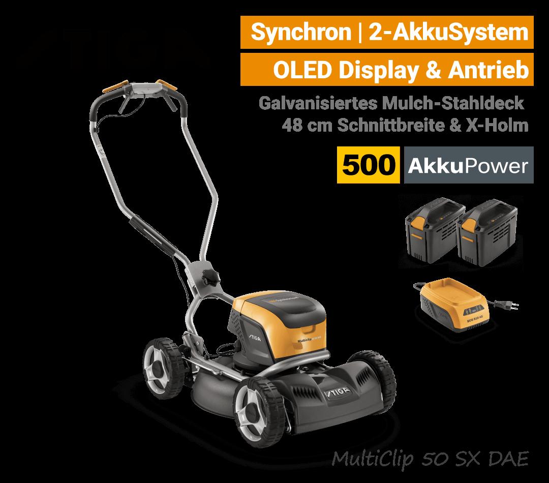 Stiga MultiClip 50 SX DAE Akku-Rasenmäher-Mulchmäher Radantrieb Synchron 500 EU9