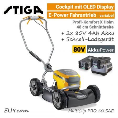Stiga MultiClip PRO 50 S AE OLED 80V Akku-Mulchmäher-Rasenmäher Rad-Antrieb 80-Volt SET EU9
