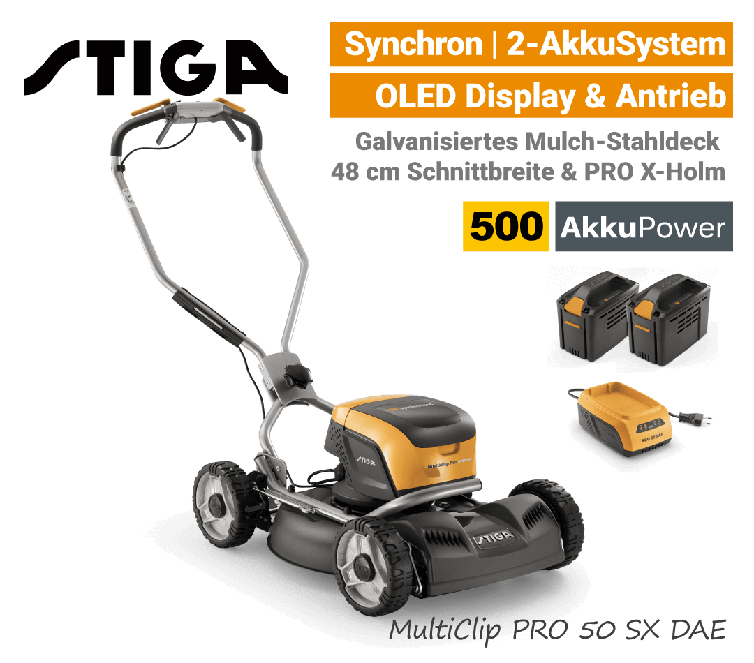 Stiga MultiClip PRO 50 SX DAE Akku-Rasenmäher-Mulchmäher Radantrieb Synchron 500 EU9
