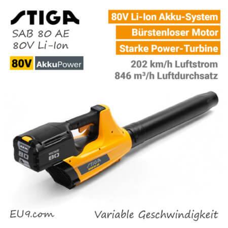 Stiga SAB 80 AE 80V Akku Laubbläser Bläser 80 Volt EU9