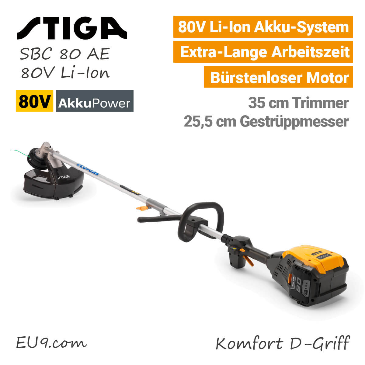 stiga sbc 80 ae akku motorsense trimmer 80v li ion. Black Bedroom Furniture Sets. Home Design Ideas