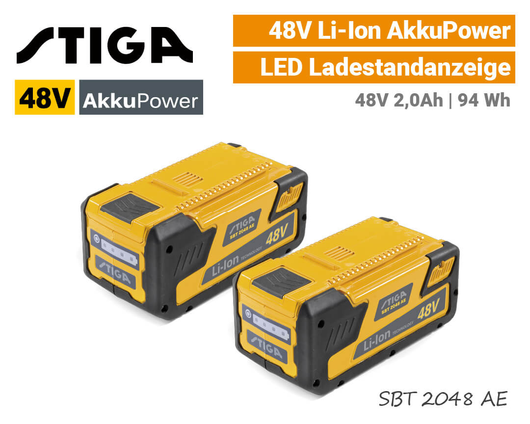 Stiga SBT 2048 AE 48V Akku Lithium-Ion 48 Volt SET EU9