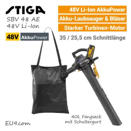 Stiga SBV 48 AE 48V Akku-Laubbläser 48 Volt EU9