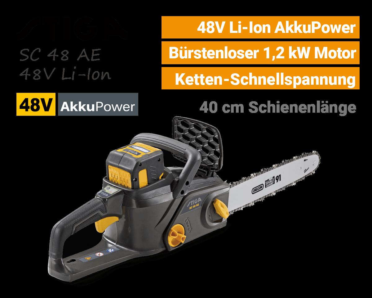Stiga SC 48 AE 48V Akku-Kettensäge Motorsäge 48 Volt EU9
